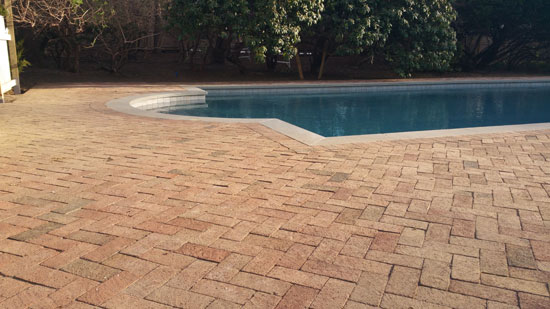 hamptons pool patio red brick